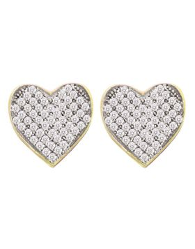 10kt Yellow Gold Womens Round Diamond Heart Cluster Screwback Earrings 1/10 Cttw