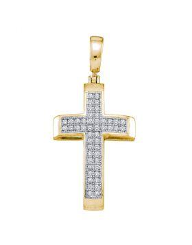 10kt Yellow Gold Womens Round Diamond Cross Religious Pendant 1/6 Cttw