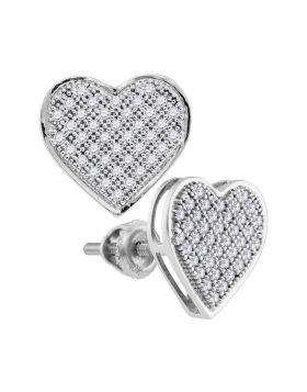 10kt White Gold Womens Round Diamond Heart Cluster Screwback Earrings 1/4 Cttw