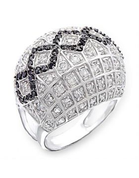 Ring 925 Sterling Silver Rhodium + Ruthenium AAA Grade CZ Jet