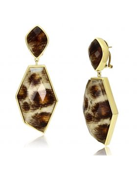 VL074 - Brass IP Gold(Ion Plating) Earrings Synthetic Animal pattern