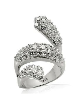 LOS219-6 - 925 Sterling Silver Rhodium Ring AAA Grade CZ Clear
