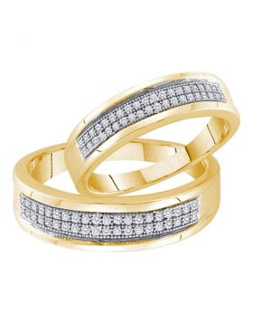 10kt Yellow Gold His & Hers Round Diamond Matching Bridal Wedding Band Set 1/4 Cttw