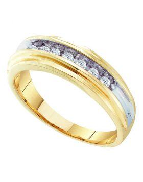 10kt Yellow Two-tone Gold Unisex Round Diamond Single Row Wedding Band Ring 1/4 Cttw