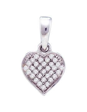 10kt White Gold Womens Round Diamond Small Dainty Heart Pendant 1/10 Cttw