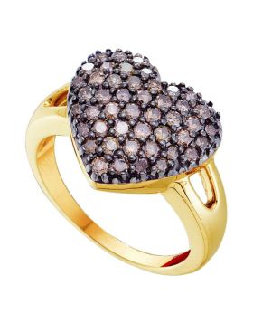 14kt Yellow Gold Womens Round Brown Diamond Heart Cluster Ring 1.00 Cttw