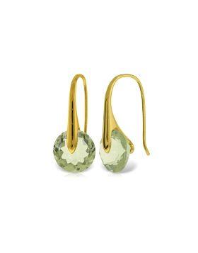14K Gold Fish Hook Earrings w/ Green Amethyst