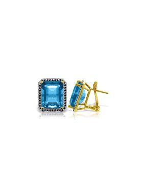 14K Gold Stud French Clips Earrings Diamonds & Blue Topaz