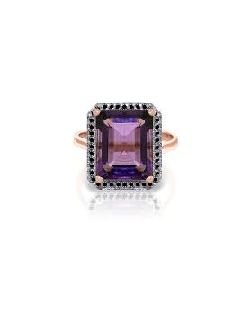 14K Rose Gold Ring w/ Natural Black Diamonds & Amethyst