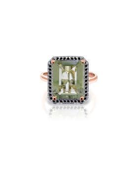 14K Rose Gold Ring w/ Natural Black Diamonds & Green Amethyst