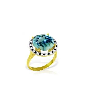14K Gold Ring w/ Natural Black / White Diamonds & Blue Topaz