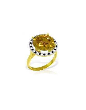 14K Gold Ring w/ Natural Black / White Diamonds & Citrine