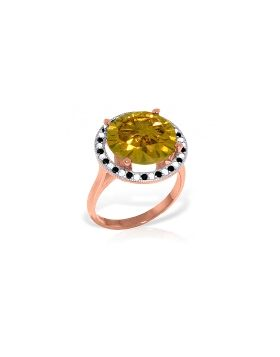 14K Rose Gold Ring w/ Natural Black / White Diamonds & Citrine