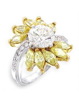 Ring 925 Sterling Silver Reverse Two-Tone AAA Grade CZ Topaz Round
