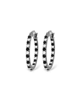 14K White Gold Hoop Earrings Natural Black & White Diamond Jewelry