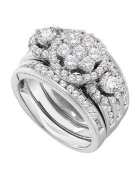 14kt White Gold Womens Round Diamond 3-Piece Bridal Wedding Engagement Ring Band Set 2.00 Cttw