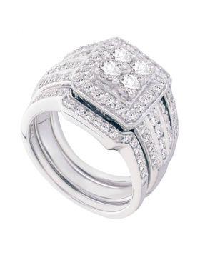 14kt White Gold Womens Round Diamond Halo 3-Piece Bridal Wedding Engagement Ring Band Set 1-1/2 Cttw