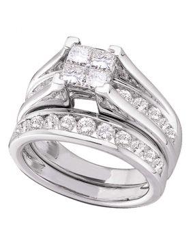 14kt White Gold Womens Princess Diamond Bridal Wedding Engagement Ring Band Set 3.00 Cttw