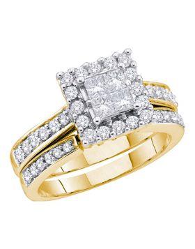 14k Yellow Gold Womens Princess Diamond Halo Bridal Wedding Engagement Ring Set 1/2 Cttw