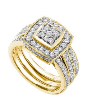14k Yellow Gold Round Diamond Cluster Womens 3-Piece Wedding Bridal Engagement Ring Set 1.00 Cttw
