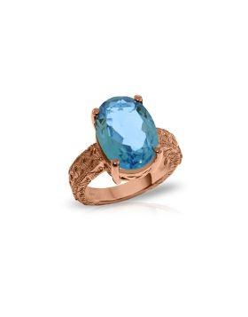 14K Rose Gold Ring w/ Natural Oval Blue Topaz