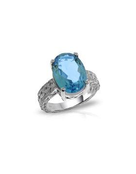 14K White Gold Ring w/ Natural Oval Blue Topaz