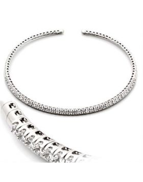 LO829-16 - Brass Rhodium Necklace AAA Grade CZ Clear