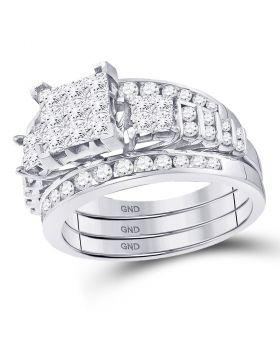 14kt White Gold Womens Princess Diamond 3-Piece Bridal Wedding Engagement Ring Band Set 1-1/2 Cttw