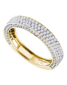 14kt Yellow Gold Womens Round Pave-set Diamond Edged Band Ring 7/8 Cttw