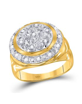 10kt Yellow Gold Unisex Round Diamond Circle Cluster Ring 1/4 Cttw