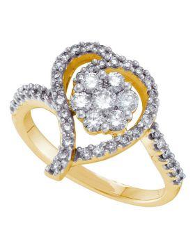 14kt Yellow Gold Womens Round Diamond Flower Cluster Heart Ring 3/4 Cttw