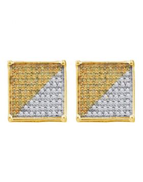 10kt Yellow Gold Unisex Round Yellow Color Enhanced Diamond Square Cluster Earrings 1/6 Cttw