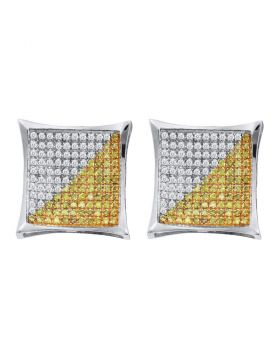 10kt White Gold Unisex Round Yellow Color Enhanced Diamond Square Cluster Earrings 1/4 Cttw