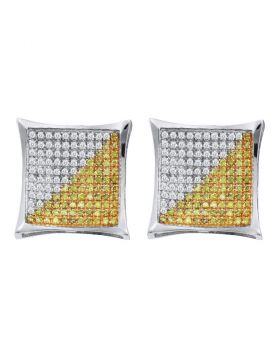 10kt White Gold Unisex Round Yellow Color Enhanced Diamond Square Kite Cluster Earrings 1/6 Cttw
