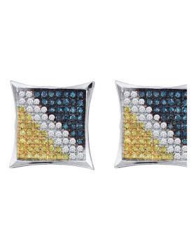 10kt White Gold Unisex Round Blue Yellow Color Enhanced Diamond Square Kite Earrings 1/20 Cttw