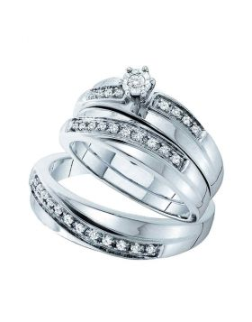 14kt White Gold His & Hers Round Diamond Solitaire Matching Bridal Wedding Ring Band Set 1/4 Cttw
