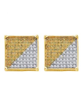 10kt Yellow Gold Unisex Round Yellow Color Enhanced Diamond Square Cluster Earrings 1/3 Cttw