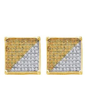 10kt Yellow Gold Unisex Round Yellow Color Enhanced Diamond Square Cjluster Earrings 7/8 Cttw