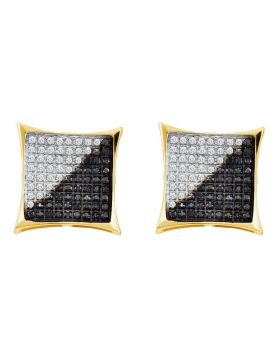10kt Yellow Gold Unisex Round Black Color Enhanced Diamond Square Kite Cluster Earrings 3/4 Cttw