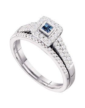 14kt White Gold Womens Princess Blue Color Enhanced Diamond Halo Bridal Wedding Engagement Ring Band Set 1/2 Cttw