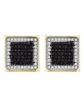 10kt Yellow Gold Unisex Round Black Color Enhanced Diamond Square Frame Cluster Earrings 7/8 Cttw