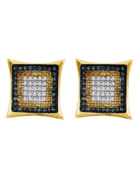 10kt Yellow Gold Unisex Yellow Blue Color Enhanced Diamond Square Cluster Earrings 1/3 Cttw