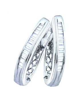 10kt White Gold Womens Baguette Channel-set Diamond Hoop Earrings 1/4 Cttw