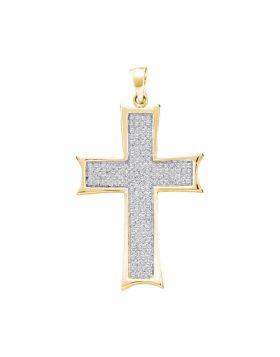 10kt Yellow Gold Unisex Round Diamond Flared Roman Cross Charm Pendant 1/2 Cttw