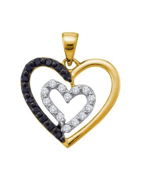 14kt Yellow Gold Womens Round Black Color Enhanced Diamond Heart Pendant 1/2 Cttw