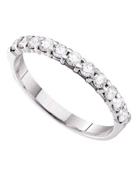14kt White Gold Womens Round Pave-set Diamond 3.5mm Wedding Band 1/2 Cttw