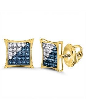 10kt Yellow Gold Unisex Round Blue Color Enhanced Diamond Square Kite Cluster Earrings 1/6 Cttw
