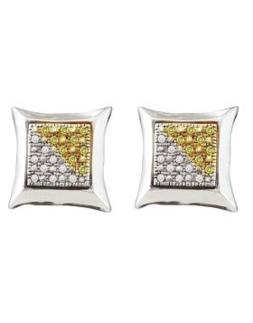 Sterling Silver Unisex Round Yellow Color Enhanced Diamond Square Kite Cluster Earrings 1/8 Cttw