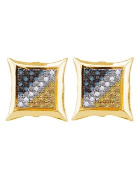 Yellow-tone Sterling Silver Unisex Round Blue Yellow Color Enhanced Diamond Cluster Earrings 1/6 Cttw
