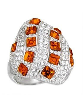 Ring Brass Rhodium Top Grade Crystal Topaz Square